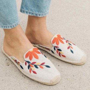 Soludos Floral Embroidered Mule Flats
